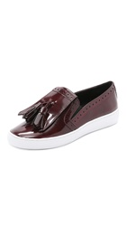 Michael Kors Vesey Fringe Slip On Sneakers Bordeaux