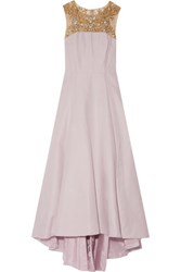 Marchesa Notte Embellished Faille Gown Lilac