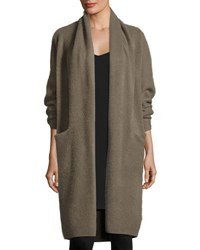 Vince Long Cashmere Open Front Cardigan Olivewood