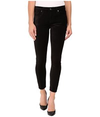 7 For All Mankind The Ankle Skinny W Contour Waist Band In Black Velvet Black Velvet Women's Jeans