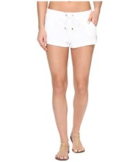 Polo Ralph Lauren Iconic Terry Shorts Cover Up White Women's Swimwear