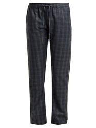 Morpho Luna Zac Checked Wool Trousers Grey Print