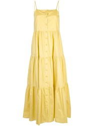 Sea Buttoned Flared Dress Yellow