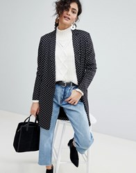Selected Polka Dot Long Blazer Black