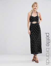 Maya Petite Embellished Maxi Dress With Cut Out Detail Black Pewter