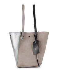 Jimmy Choo Twist Top Handle Leather Tote Silver