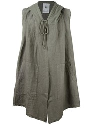 Lost And Found Rooms Sleeveless Draped Hoodie Grey