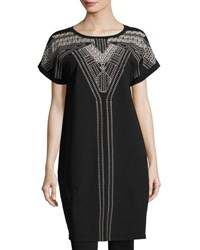 Nic Zoe Havana Nights Short Sleeve Embroidered Tunic Dress Plus Size Black
