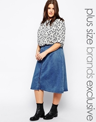 Alice And You Button Through Denim Skirt Blue