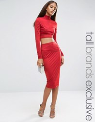Naanaa Tall Wrap Font Midi Bodycon Skirt Brick Red