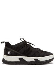 Burberry Monogram Low Top Mesh And Nubuck Trainers Black