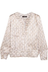 Isabel Marant Simon Printed Hammered Silk Satin Blouse Ecru