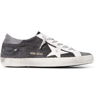 Golden Goose Deluxe Brand Superstar Distressed Leather And Nubuck Trimmed Canvas Sneakers Dark Gray