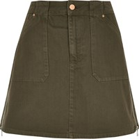 River Island Womens Khaki A Line Denim Skirt