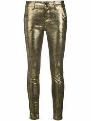 Rta Lucy Diamond Skinny Trousers Women Lamb Skin 24 Metallic