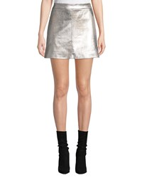 Cupcakes And Cashmere Keller Faux Suede Short Skirt Silver
