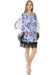 Roberto Cavalli Printed And Embroidered Cotton Voile Dress