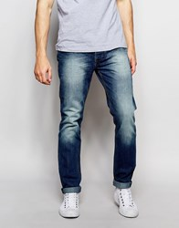 Bellfield Slim Fit Jeans With Heavy Wash Detail Blue