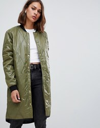 Minimum Quilted Longline Bomber Ivy Green