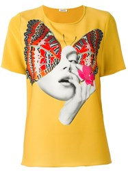 P.A.R.O.S.H. Butterfly Print T Shirt Yellow Orange