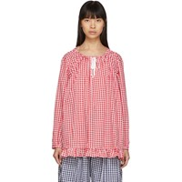 Comme Des Garcons Girl Red And White Gingham Drawstring Shirt