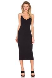 Enza Costa V Neck Tank Midi Dress Black