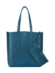 Aspinal Of London Essential Tote In Peacock Kaviar And Silver Suede Blue