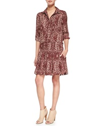 Haute Hippie The Chloe Silk Shirtdress Shadow Snake Merlot