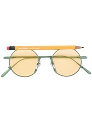 Henrik Vibskov Pen Motif Round Sunglasses Yellow Orange