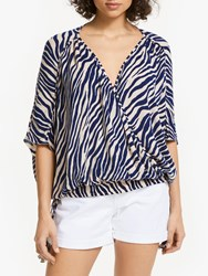 And Or Zebra Print Wrap Over Top Navy