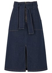Finders Keepers Aerial Love Indigo Denim Midi Skirt