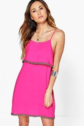 Boohoo Tape Trim Tiered Cami Dress Pink