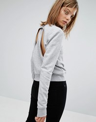 Cheap Monday Cut Out Racer Back Sweatshirt Grey Melange
