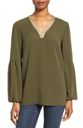 Michael Michael Kors Women's Metallic Trim Top Ivy