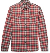 Rrl Tradesman Checked Cotton Flannel Shirt Red