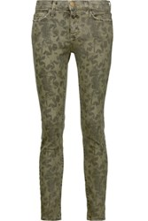 Current Elliott The Stiletto Printed Cotton Blend Skinny Pants Army Green