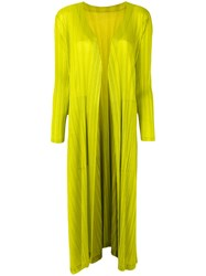 Issey Miyake Pleats Please By Pleated Draped Coat Women Polyester Iii Yellow Orange