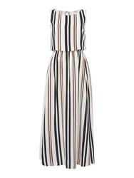 Hugo Boss Sleeveless Silk Striped Maxi Dress White