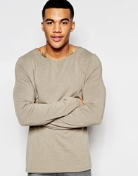 Asos Muscle Long Sleeve T Shirt With Boat Neck In Beige Beige