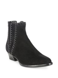Michael Kors Presley Whipstitched Suede Booties Luggage Black