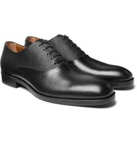 Hugo Boss Stanford Smooth And Textured Leather Oxford Shoes Black