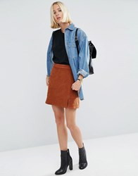 Asos Cord Pelmet Skirt With Patch Pocket And Thigh Split In Ginger Brown