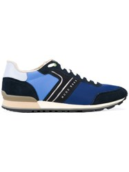 Hugo Boss Panelled Sneakers Men Calf Leather Polyester Rubber 45 Blue
