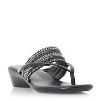 Linea Kelise Toe Post Beaded Sandals Black