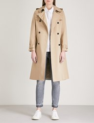 Claudie Pierlot Double Breasted Cotton Trench Coat Cream