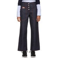 Kenzo Indigo And Red Workwear Jeans