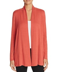 Eileen Fisher Petites Long Open Front Cardigan Persimmon