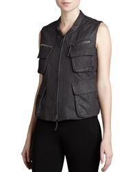 Donna Karan Leather Zip Front Vest 4