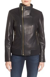 Michael Michael Kors Women's Funnel Collar Asymmetrical Zip Leather Jacket