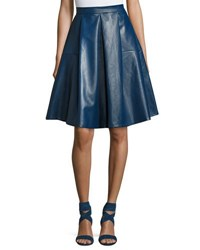 Goldie London Lateral Standing Faux Leather A Line Skirt Blue